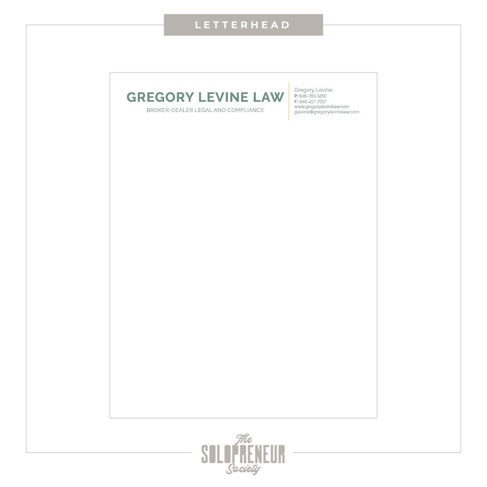 Gregory Levine Brand Identity Letterhead