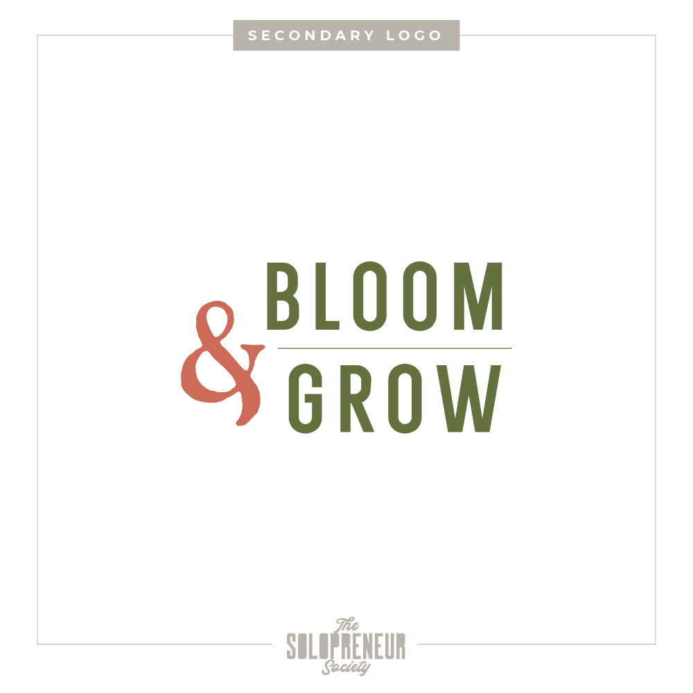 Bloom & Grow Brand Identity Secondary Logo